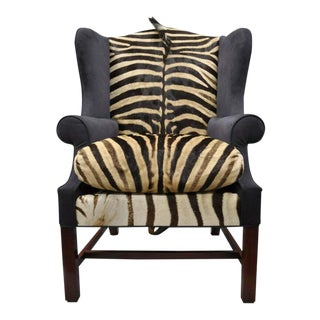 Vintage Mid Century Zebra Hide Blue Suede Mahogany English Georgian Style Wingback Library Chair For Sale