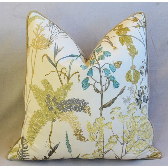 "Botanical Wildflower Floral Feather/Down Pillows 23"" Square - Pair For Sale In Los Angeles - Image 6 of 13"