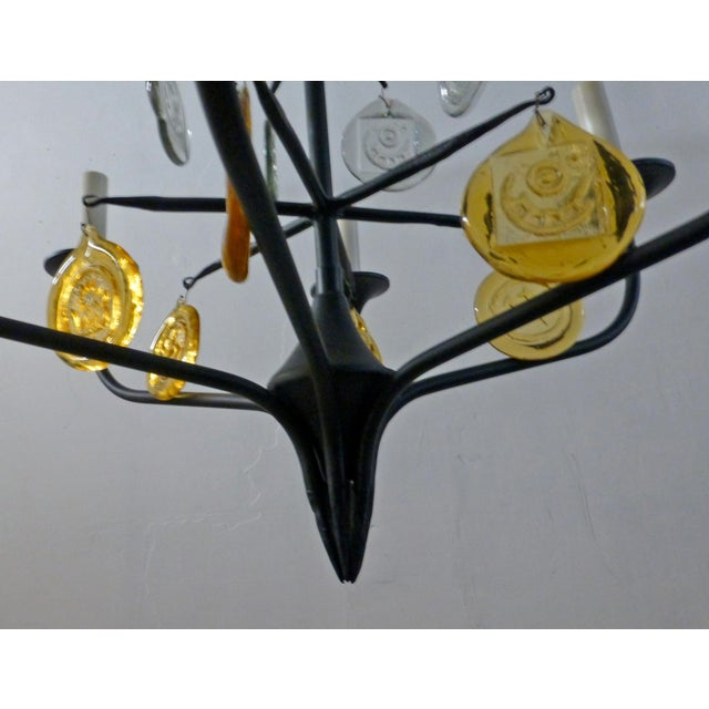 Yellow Eric Hoglund 1960s 6 Arm Black Iron and Boda Nova Crystal Chandelier Yellow & Clear Axel Stromberg Ironworks Sweden For Sale - Image 8 of 8