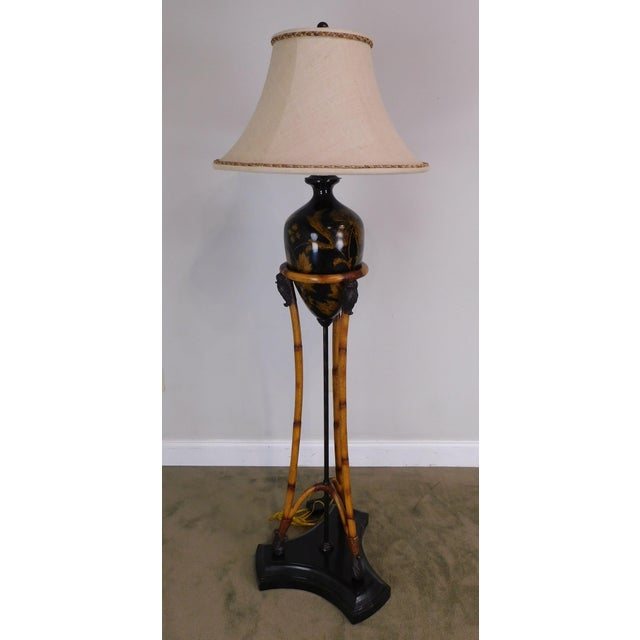 Maitland - Smith Maitland-Smith Faux Bamboo Tripod Single Light Floor Lamp With Amphora-Style Vase Center Marble Base For Sale - Image 4 of 12