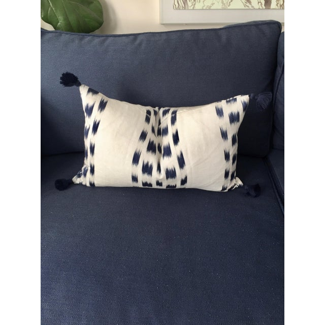 Early 21st Century Custom Schumacher Izmir Striped Lumbar Pillow Cover With Navy Tassels For Sale - Image 5 of 5
