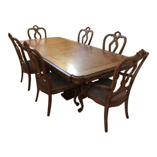 Thomasville Dining Table : Bibbiano Trestle Dining Table and Upholstered Chairs For Sale