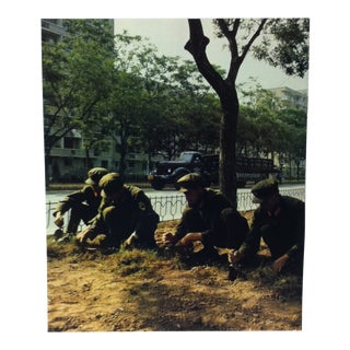 """Circa 1970 """"Soldiers Gardening"""" National Geographic Society Journey Into China Print For Sale"""