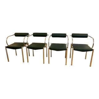 Leather Chrome Retro Modernist Dining Chairs - Set of 4 For Sale