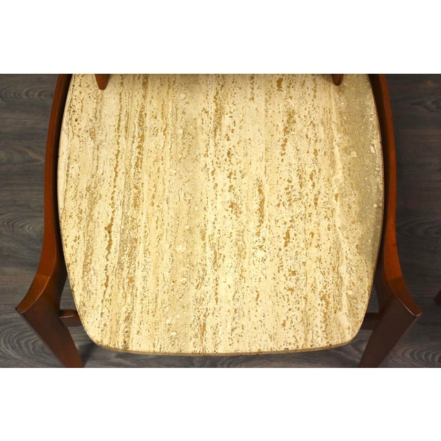 Bertha Schaefer Walnut and Travertine End Tables - a Pair For Sale In Boston - Image 6 of 11