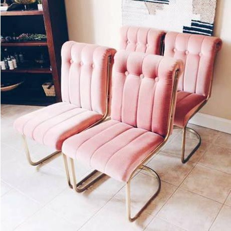 Vintage Pink Velvet & Brass Chairs - Set of 4 | Chairish