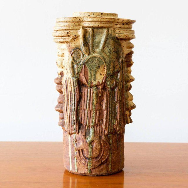 Rustic Tall Ceramic Vase by Bernard Rooke, England, 1970s For Sale - Image 3 of 7