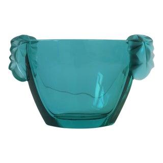 French Sèvres Blue Green Crystal Vase Vessel For Sale