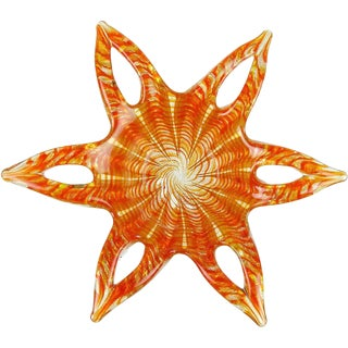 Barovier Toso Murano Orange Gold Flecks Italian Art Glass Flower Star Bowl For Sale