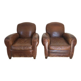 Early Mitchel Gold Leather Club Chairs For Sale