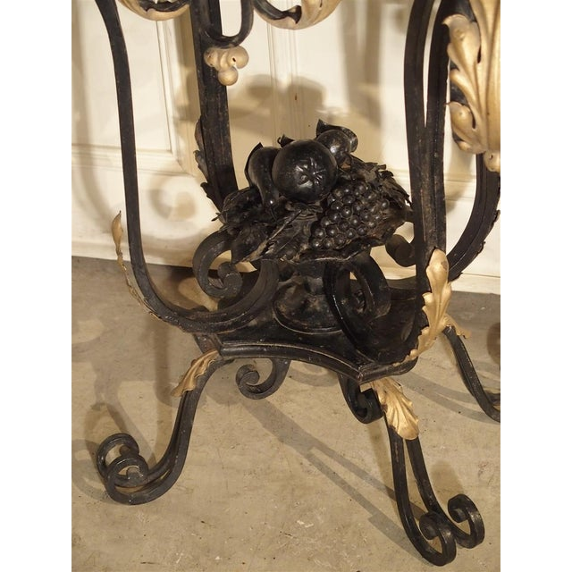 1920's French Forged Iron and Marble Console Table For Sale - Image 4 of 13
