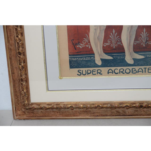 Early 20th Century Londonia Super Acrobats Antique French Poster C.1900 For Sale - Image 5 of 10