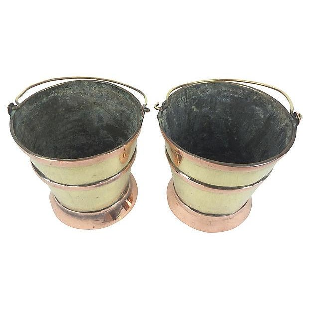 English Brass & Copper Mini Pails - Pair - Image 2 of 2