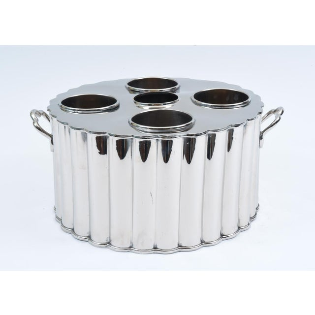 Metal Silver Plate Four Bottles Holder Barware / Tableware With Handles For Sale - Image 7 of 10