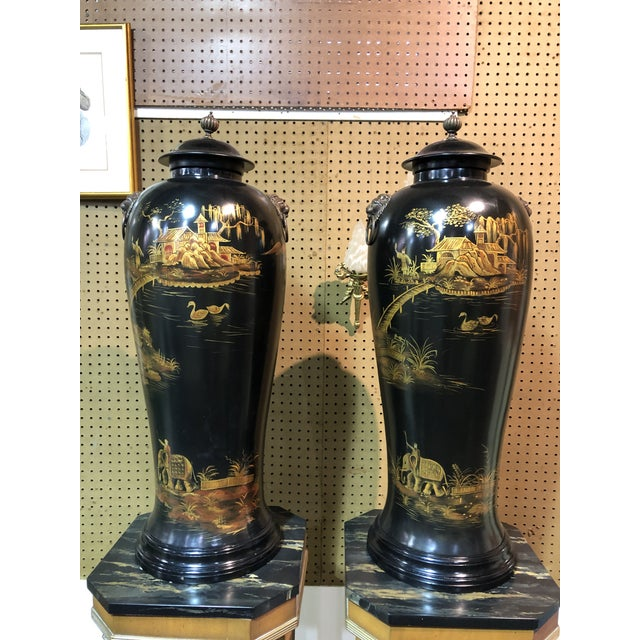 Vintage Chinoiserie Painted Lidded Urns - a Pair For Sale - Image 9 of 10