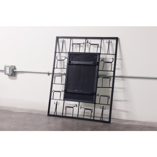 Mid-Century Modern Vintage Frederick Weinberg Mid Century Iron Framed Mirror For Sale - Image 3 of 5