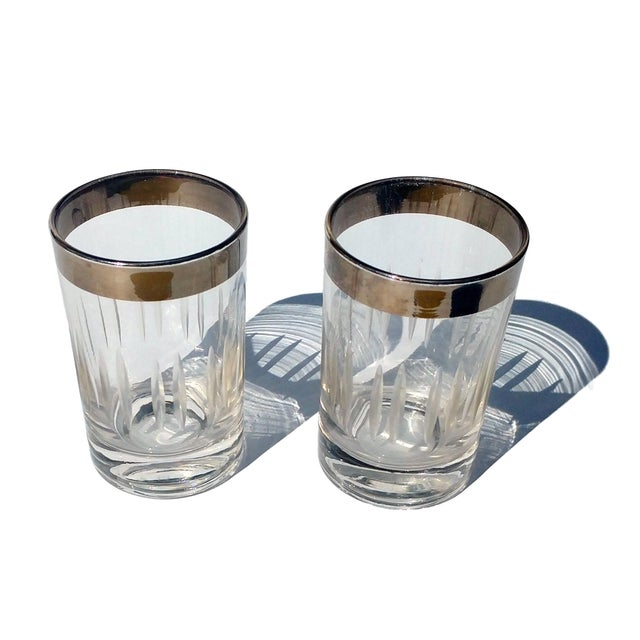 Silver-Rim Cut-Crystal Shot Glasses - A Pair - Image 2 of 6