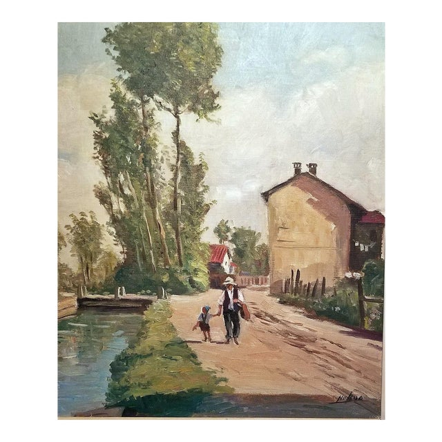 Hiyashi NoBuo Oil on Canvas - Man & Son For Sale