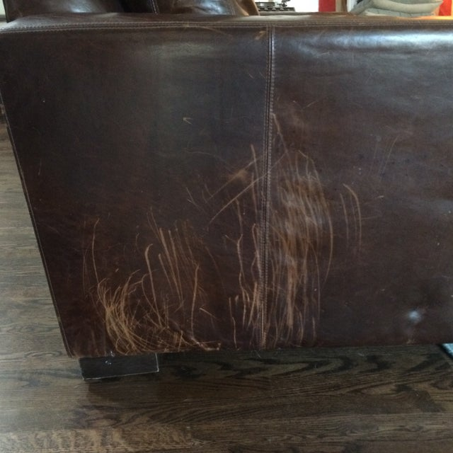 Restoration Hardware Leather Queen Sleeper Sofa - Image 10 of 11