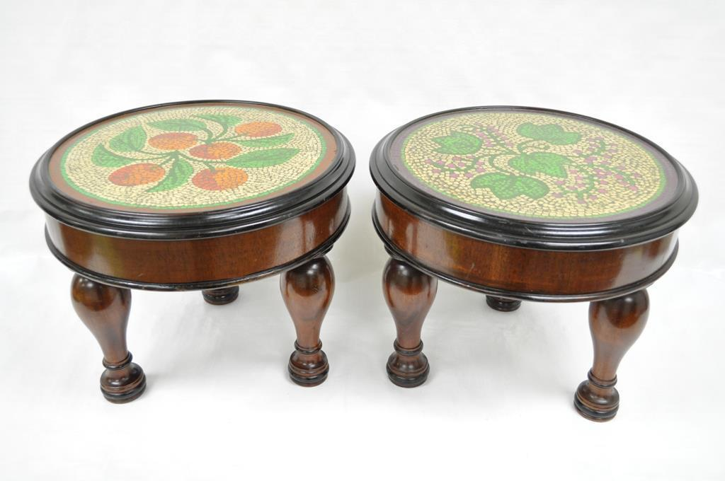 Pair Of Vintage Empire Mahogany Painted Top Low End Accent Tables Stools  Ottoman For Sale