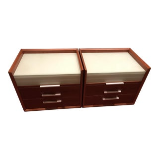 Cherry Wood Nightstands with Glass Tops - A Pair