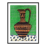 Greek Pitcher by Jelly Chen in Black Framed Paper, Small Art Print