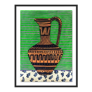 Greek Pitcher by Jelly Chen in Black Framed Paper, Small Art Print For Sale