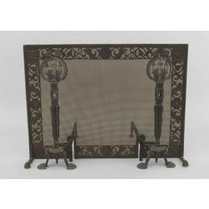 American Arts and Crafts wrought iron and bronze fire place andirons and screen For Sale - Image 11 of 11