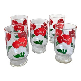 Vintage Mid-Century Anchor Hocking Red Flowers Juice Glasses - Set of 5 For Sale