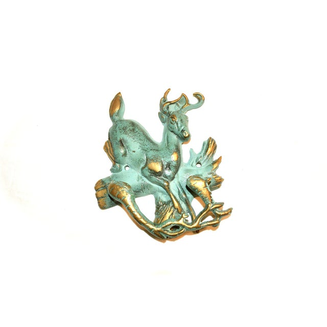 1990s Verdigris and Gold Stag Door Knocker For Sale - Image 5 of 9
