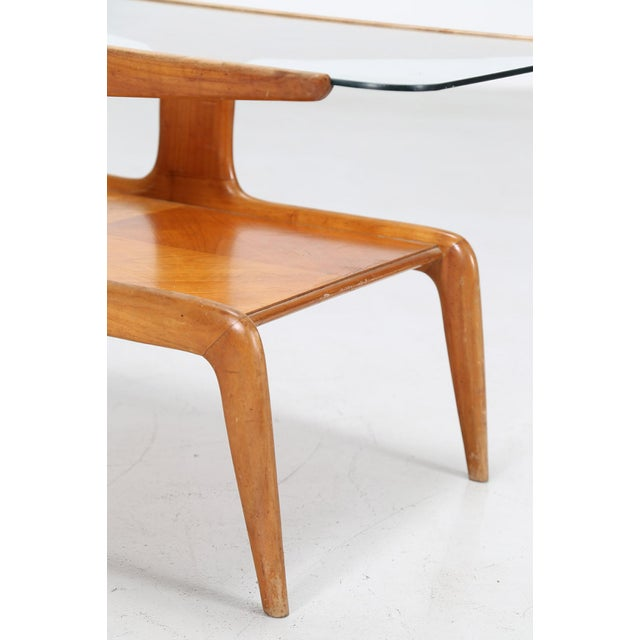 Brown Gio Ponti Coffee Table in Ash and Glass Top For Sale - Image 8 of 9