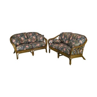Quality Rattan Pair Curved Back Loveseats With Custom Floral Upholstered Cushions For Sale