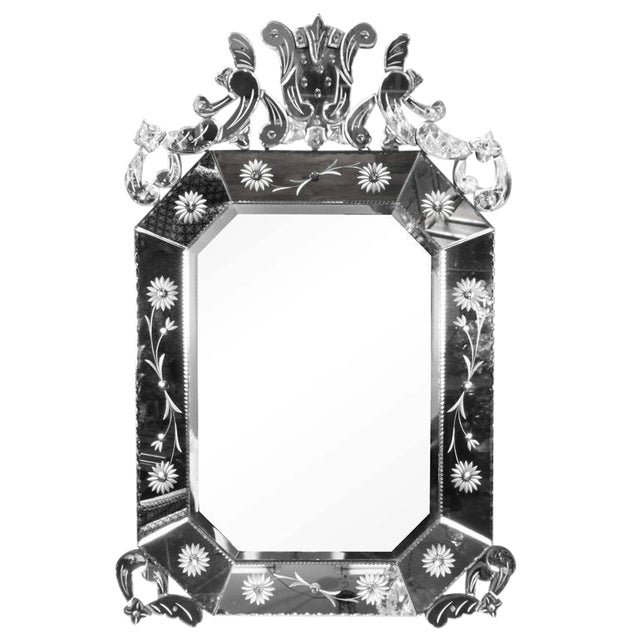 Extra Large 1940s Italian Hollywood Regency Venetian Mirror With Elaborate Etching For Sale