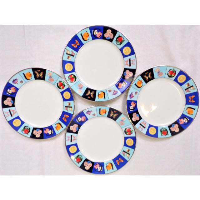 Contemporary 1990's Gucci Guccissimo China Salad Plate Set - Set of Four For Sale - Image 3 of 5