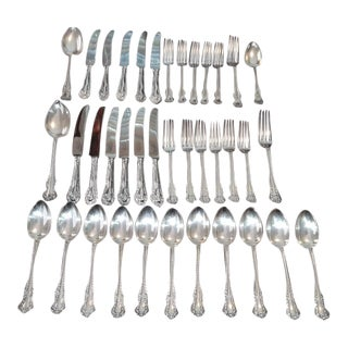 Sheffield Sterling Silver Antique Spoons and Forks Set For Sale