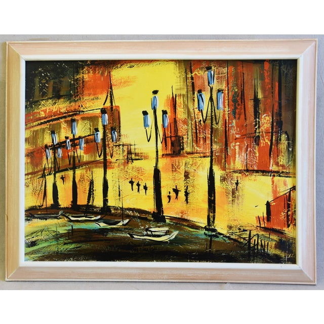 Oil Paint Hollywood Midcentury European Cityscape Oil Painting For Sale - Image 7 of 7