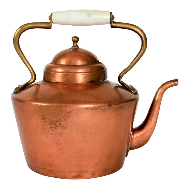 Vintage Copper & Brass Kettle Teapot For Sale