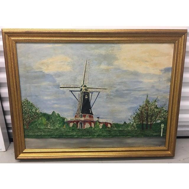 Vintage Mid-Century East Coast Windmill Landscape Painting For Sale - Image 13 of 13