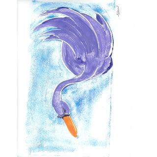 """Purple Swan"" Contemporary Bird Monoprint 8.5"" x 11"" For Sale"