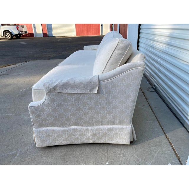 Mid-Century White Tuxedo Skirted Sofa For Sale In Sacramento - Image 6 of 13