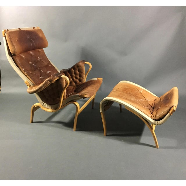 "1970s Scandinavian Modern Bruno Mathsson ""Pernilla"" Lounge Chair + Ottoman - 2 Pieces For Sale - Image 13 of 14"