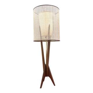 Vintage Danish Modern Sculptural Walnut Rocket Lamp For Sale