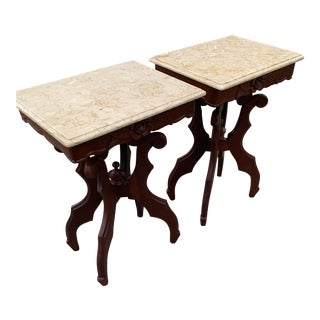 1930s Vintage Victorian Marble Top Parlor Tables-A Pair For Sale