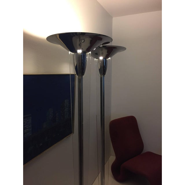 Modern Mid-Century Modern Chrome and Lucite Torchiere Floor Lamps - a Pair For Sale - Image 3 of 10