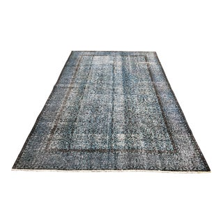 Faded Turkish Blue Bohemian Floral Rug - 6′3″ × 9′11″ For Sale