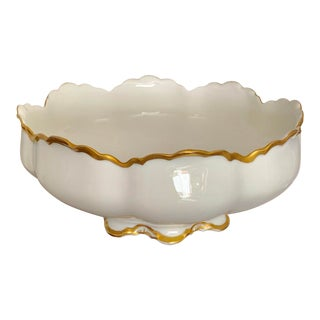 "10"" Vintage Haviland France Limoges White Gilt Serving Bowl For Sale"