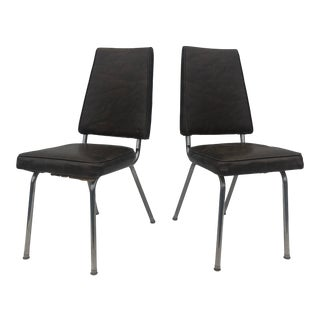 Mid Century Modern High Back Vinyl Kitchen Chairs - a Pair For Sale