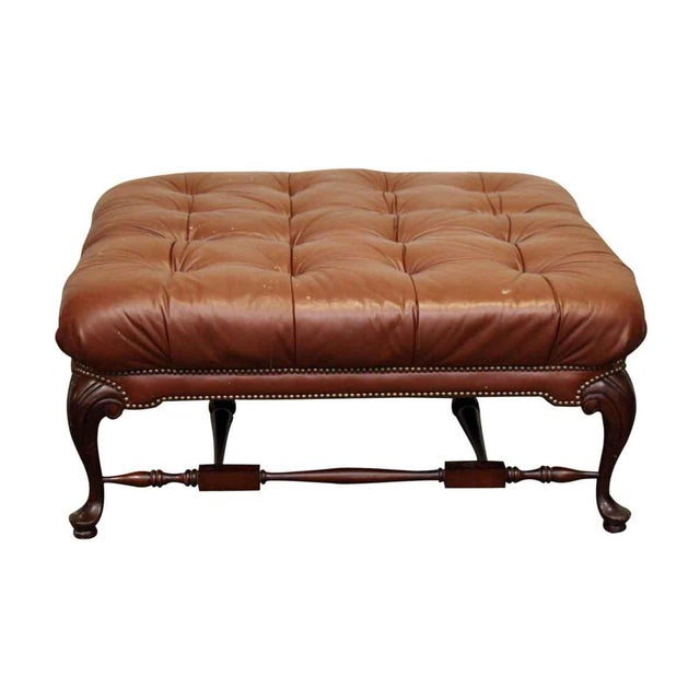 Early 20th Century Large French Tufted Leather Foot Stool For Sale - Image 5 of 13