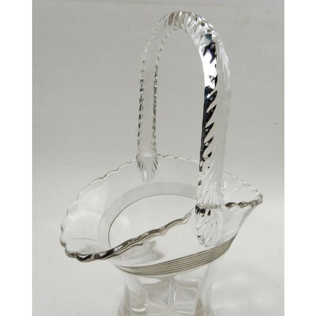 Art Deco Antique Glass Basket Vase For Sale - Image 3 of 6