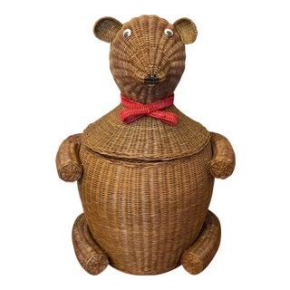1980s Wicker Teddy Bear Clothes Hamper For Sale